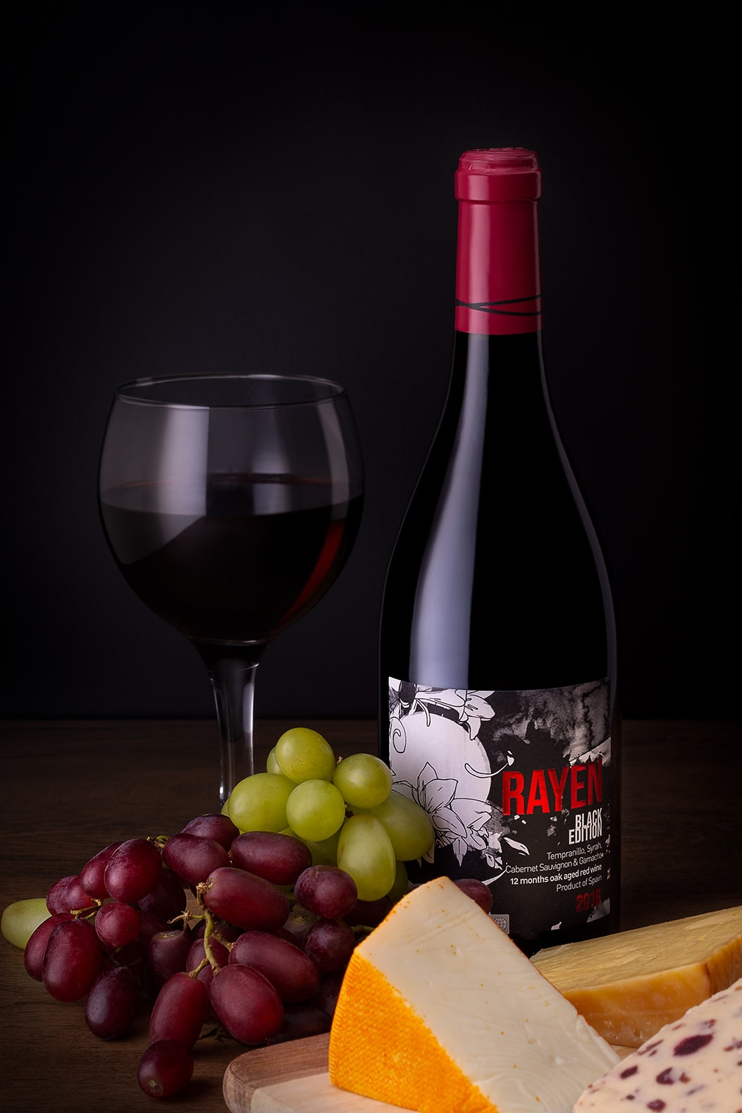 E-commerce Product Photography Limerick Ireland wine bottle cheese and grapes